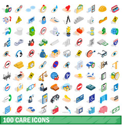 100 care icons set isometric 3d style vector image