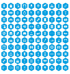 100 mirror icons set blue vector
