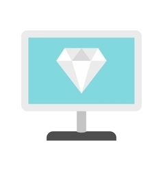 Computer monitor with a diamond icon flat style vector
