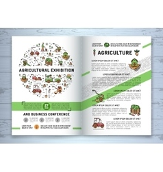 Agricultural exhibition business brochure design vector