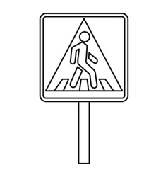 Pedestrian traffic sign icon outline style vector