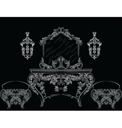 Rich baroque rococo furniture vector