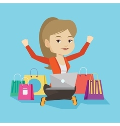 Woman shopping online vector