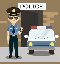 Policeman in american cop uniform vector