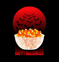 Happy halloween bowl and candy corn moon and bat vector
