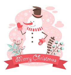 Snowman christmas congratulation postcard vector