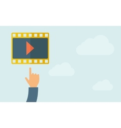 Hand pointing to a film icon vector image