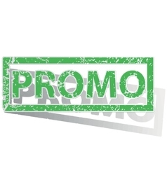 Green outlined promo stamp vector