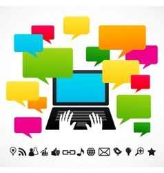 Laptop computer with speech bubbles vector