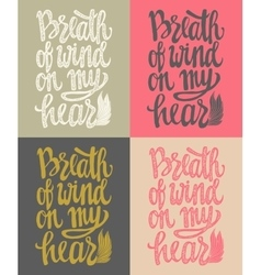 Romantic poster breath of wind vector
