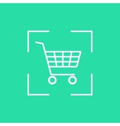 White shopping trolley icon in dotted line frame vector