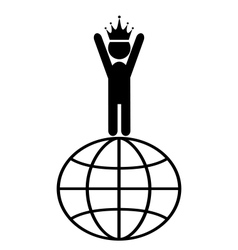 King of the world win leader people flat icons vector