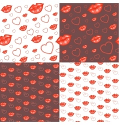 Seamless backgrounds with hearts and lips vector