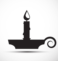 Lit candle - candlestick icon vector
