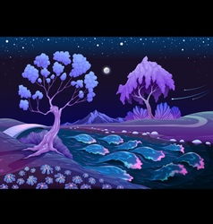 Astral landscape with trees and river in the night vector