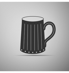 Wooden beer mug icon vector