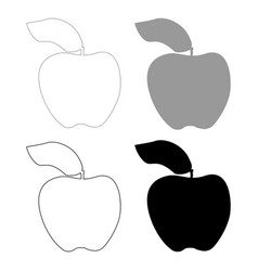 apple the black and grey color set icon vector image vector image
