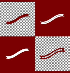 Banner ribbon sign bordo and white icons vector