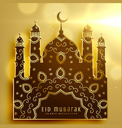 Beautiful mosque design with golden decoration vector