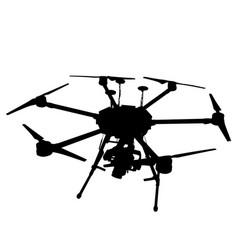 black silhouette drone quadrocopter on white vector image