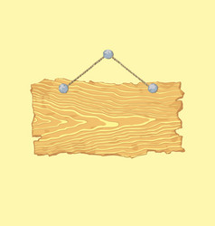 Bright hanging blank isolated old wooden sign vector