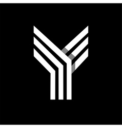Capital letter y made of three white stripes vector