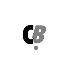Cb c b black white grey alphabet letter logo icon vector