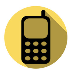 Cell phone sign flat black icon with flat vector