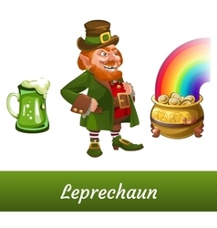 Classic leprechaun with mug beer and pot of coins vector image