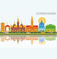 Copenhagen skyline with color landmarks blue sky vector