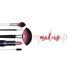Cosmetic makeup template with blush brushes vector