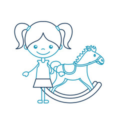 Cute girl with horse wooden character icon vector
