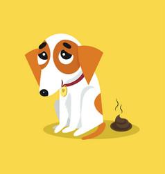 Cute jack russell terrier pooping funny pet vector