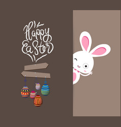 easter bunny with eggs colorful card vector image