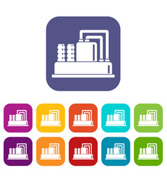Equipment for production oil icons set vector