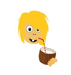 Girl drink coconut milk part two vector