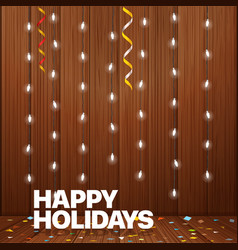 happy holidays greeting card lighting garland vector image