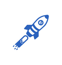 icon of a blue rocket on a white background vector image vector image