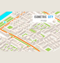 Isometric city street road map urban place vector