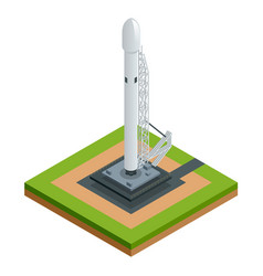 isometric space rocket isolated on white vector image vector image