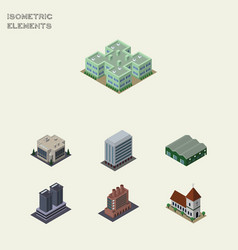 Isometric urban set of tower chapel industry and vector