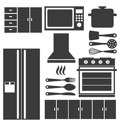 kitchen elements vector image vector image