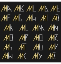 Letter M with alphabet vector image vector image