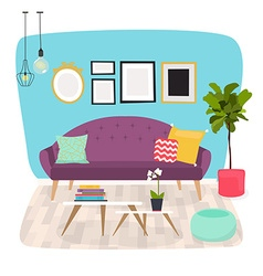 Living room Furniture and Home Accessories vector image