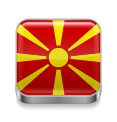Metal icon of macedonia vector