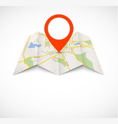 Navigation map with red pin vector image