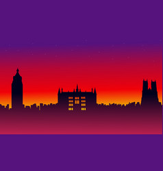 on red background london city building landscape vector image vector image