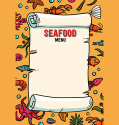 seafood restaurant menu in cartoon style vector image vector image