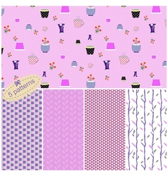 seamless pattern collection with cute flower pots vector image vector image