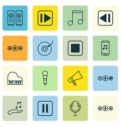 set of 16 music icons includes octave mike mute vector image